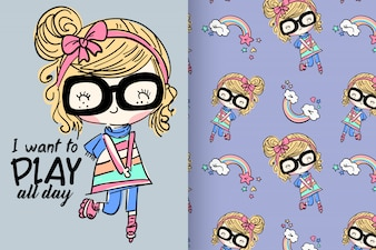 Hand drawn cute girl with pattern vector set