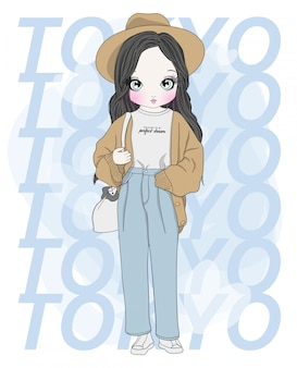 Hand drawn cute girl
