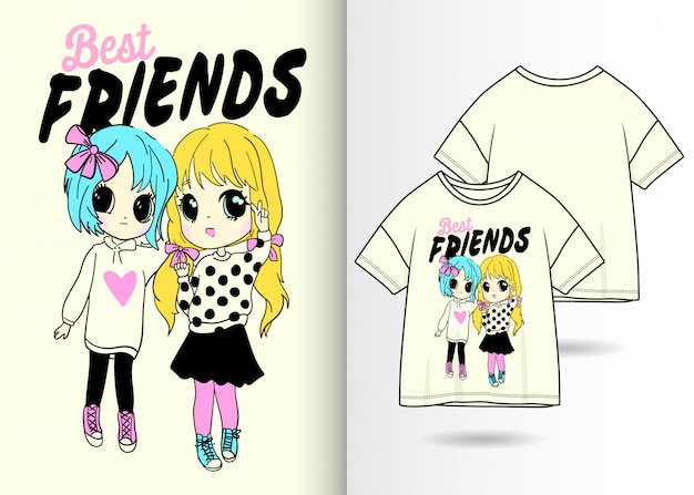 Hand drawn cute girls illustration with t shirt design