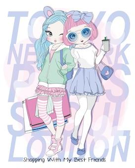 Hand drawn cute girls shopping