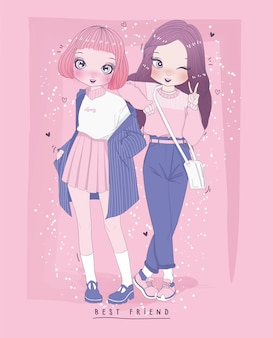 Hand drawn cute girls with background