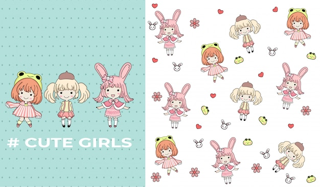 Hand drawn cute girls with pattern vector set