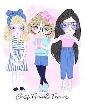 Hand drawn cute girls
