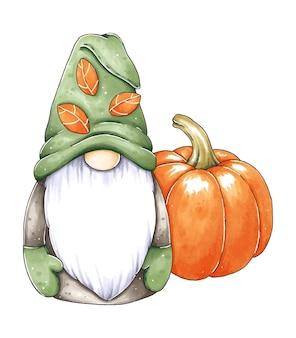 Hand drawn cute gnome with halloween pumpkin
