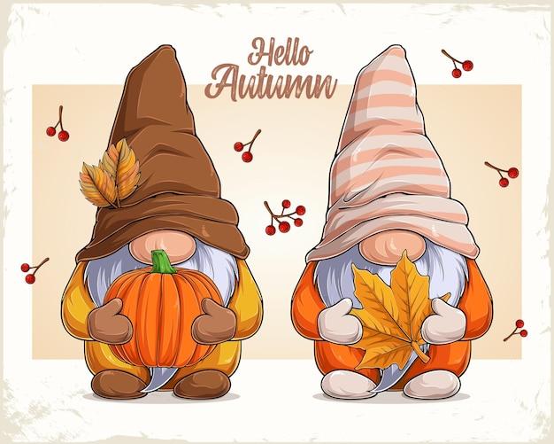 Hand drawn cute gnomes in autumn disguise holding pumpkin and maple leaf hello autumn text Premium Vector
