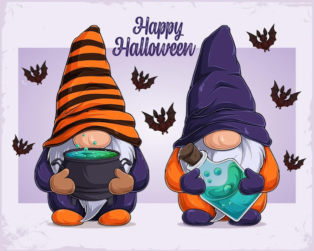 Hand drawn cute gnomes in halloween disguise holding cauldron and poison happy halloween text
