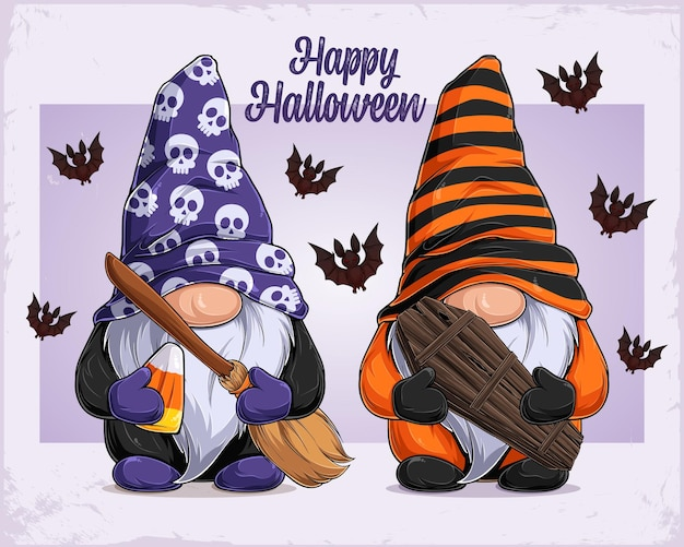 Hand drawn cute gnomes in halloween disguise holding witch broom and coffin happy halloween text