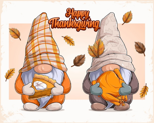 Hand drawn cute gnomes in thanksgiving disguise holding pumpkin pie and glazed turkey