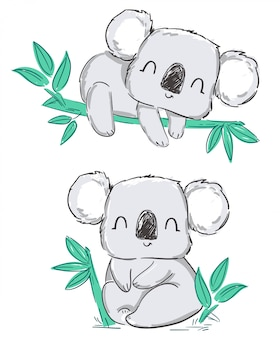 Hand drawn cute gray set koala and leaves isolated on a white