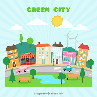 Hand drawn cute green city