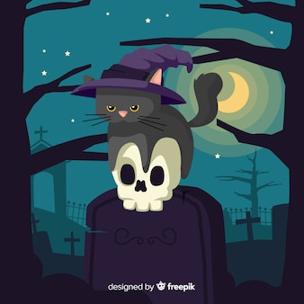 Hand drawn of cute halloween black cat sitting on a tombstone