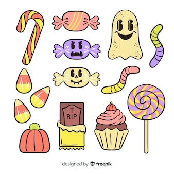 Hand drawn cute halloween candy collection