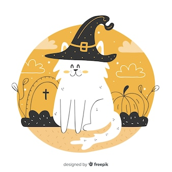 Hand drawn of cute halloween cat