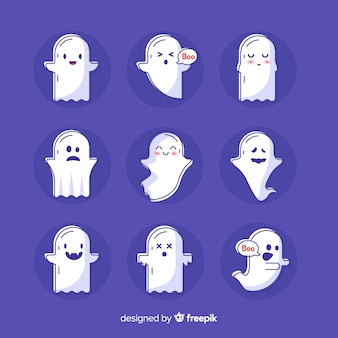 Hand drawn cute halloween ghost collection