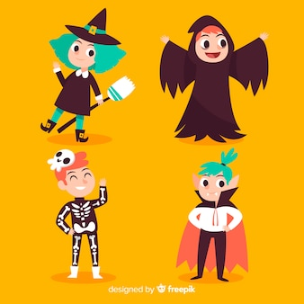 Hand drawn cute halloween kid collection