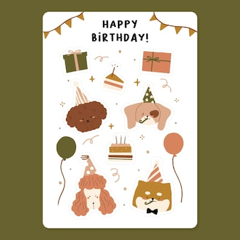 Hand drawn cute happy birthday party elements with slice of cake and candle, balloons, pink poodle puppy, shiba inu dog, apricot toy wearing hat for party celebration, gift box illustration.