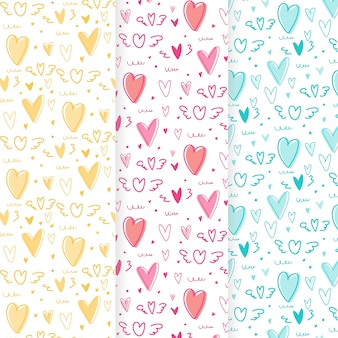Hand drawn cute heart pattern background