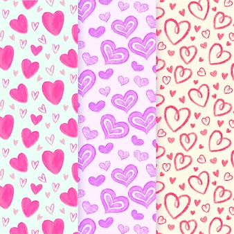 Hand drawn cute heart patterns