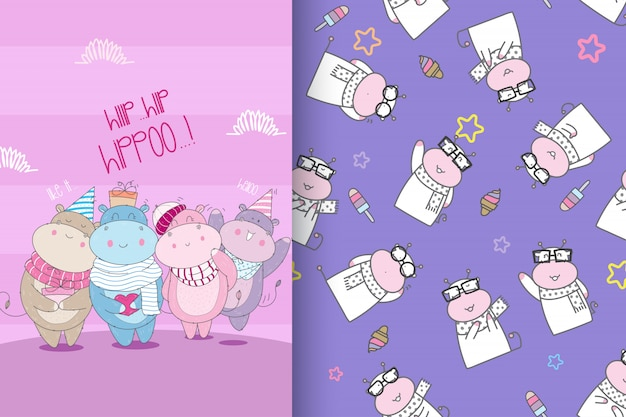 Hand drawn cute hippo with pattern set-vector