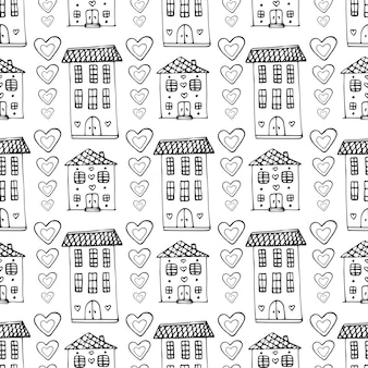 Hand drawn cute houses seamless pattern. vector doodle background with building and hearts. wrapping, wallpaper, textile