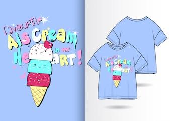 Нарисованная рукой милая иллюстрация мороженого с дизайном футболки