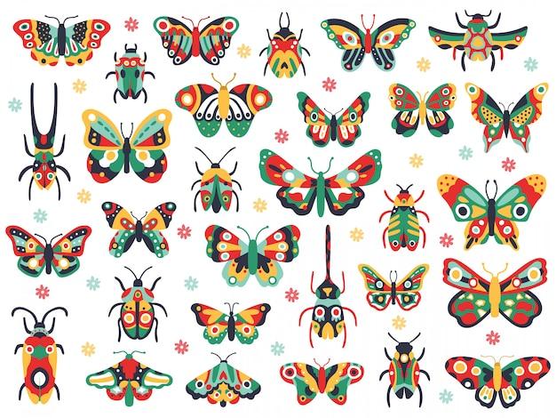 손으로 그린 귀여운 곤충. 비행 나비와 딱정벌레, 화려한 봄 곤충 낙서. 드로잉 나비와 버그 그림 아이콘을 설정합니다. 화려한 곤충 동물 군, 야생 동물 봄 동물