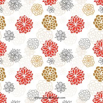 手描きのかわいい日本の花のパターン