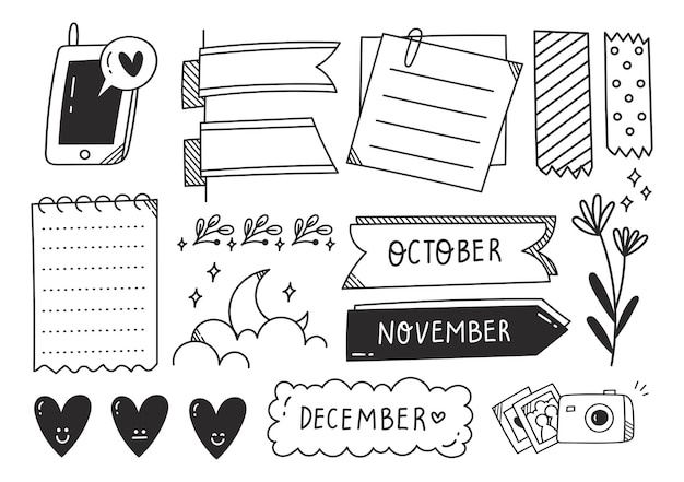 Hand drawn cute journal doodle element