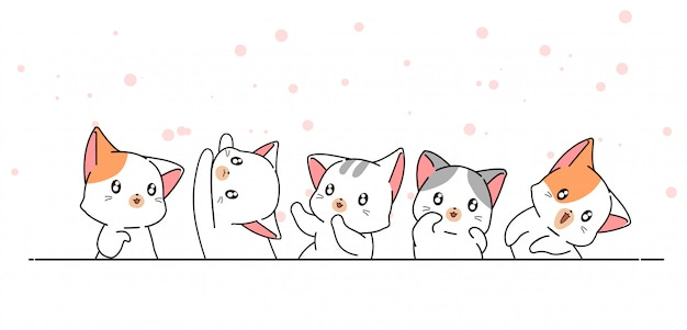 Hand drawn cute kawaii cat characters