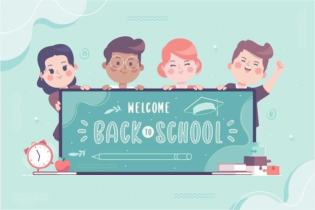学校に戻って手描きのかわいい子供たちのキャラクター