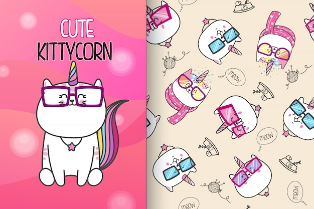 Hand drawn cute kitten with pattern vector set