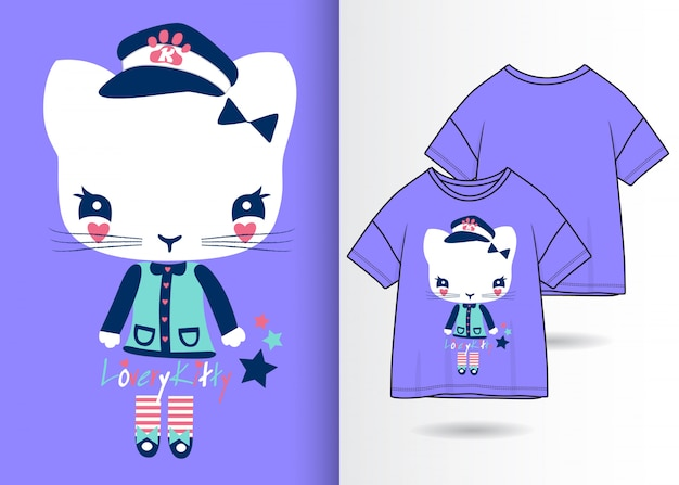 Hand drawn cute kitty illustration with t shirt design