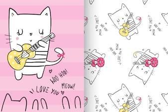 パターンが設定された手描きのかわいい子猫