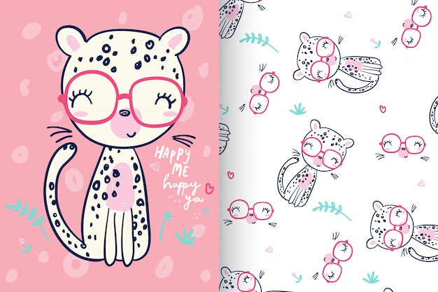 Hand drawn cute kitty with pattern set