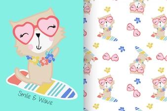 Рисованный милый котенок с набором рисунков