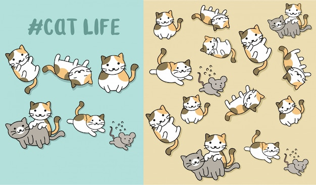 Hand drawn cute kitty with pattern vector set