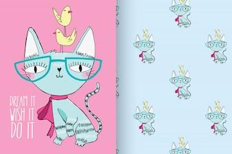 パターンベクトルセットで手描きのかわいい子猫
