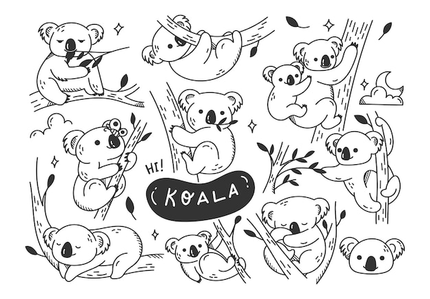 Hand drawn cute koala doodles