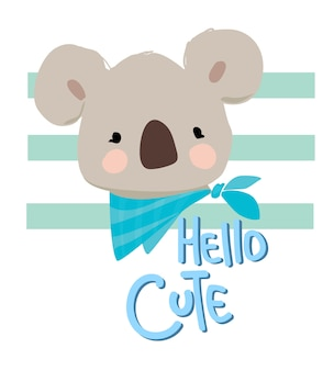 Hand drawn cute koala illustration