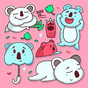 Hand drawn of cute koala isolated on pink