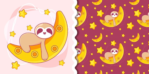 Hand drawn cute lazy sloth with pattern set