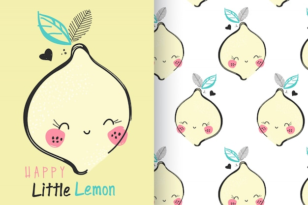 Hand drawn cute lemon with pattern set