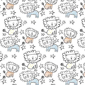 Hand drawn cute lion pattern background