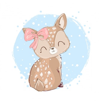 Hand drawn cute little deer