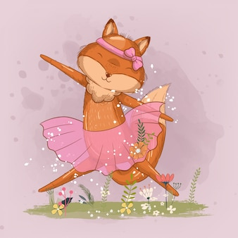Hand drawn cute little fox ballerina illustration for kids