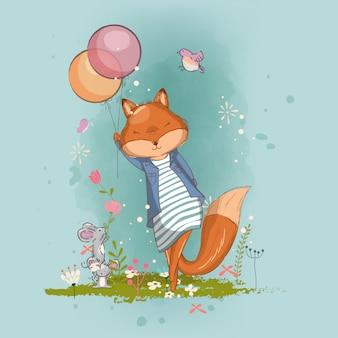 Нарисованная рукой милая маленькая иллюстрация девушки лисы для детей