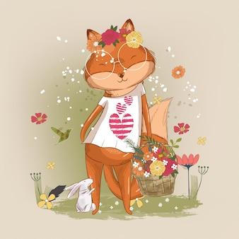 Hand drawn cute little fox girl illustration for kids