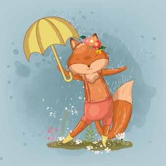 Hand drawn cute little fox with an umbrella illustration for kids