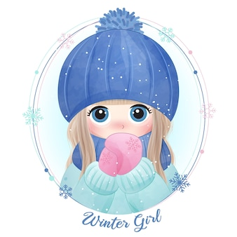Hand drawn cute little girl with watercolor illustration