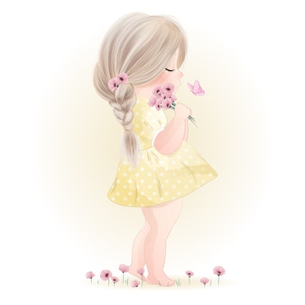 Нарисованная рукой милая маленькая девочка с акварельной иллюстрацией